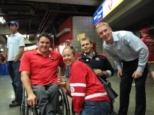 Team Canada Paralympic Sledge Hockey athletes and me!!