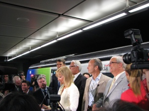 Politicos at Waterfront Station for the Canada Line Opening