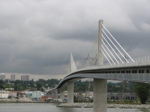 The new Canada Line Bridge with pedestrian/bike bridge.