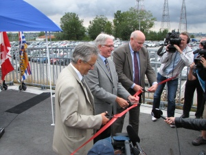 Ribbon Cutting - Left to Right - Deputy Mayor Vancouver Geogg Meggs, Acting Mayor Richmond Ken Johnston, and Translink CEO Thomas Prendergast