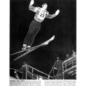 Norwegian Viggo Friling jumping at Empire Stadium