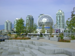 Science World from the Olympic Village seawall - this is a photo I took, not a webcam image.