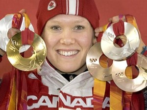 Cindy Klassen with her two bronze, two silver and Gold from Torino 2006