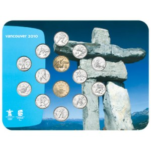 Circulation coin set by the Royal Canadian Mint - Inukshuk background