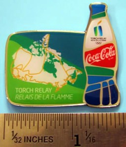A Coca-Cola Torch Relay pin - not a retail pin but pretty! (Photo courtesy of pincollectorsite.com)