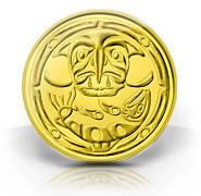 Gold kilo coin - Surviving the Flood - $49,000, artist Xwa Lack tun (Rick Harry) of Squamish