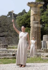 The lighting of the Beijing 2008 Olympic Torch held by Maria Nafpliotou, a Grecian actress