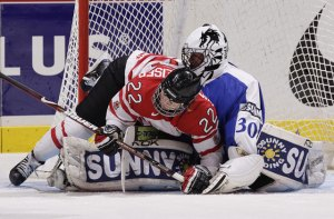 Hayley Wickenheiser on Finland's goalie on Tuesday - Photo from HockeyCanada.ca photographed by Jeff Vinnick