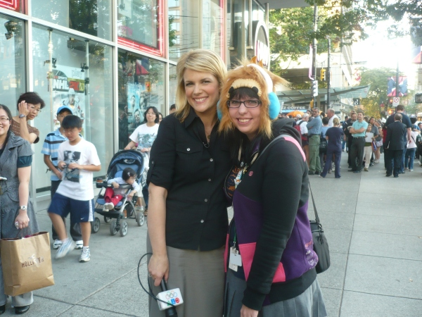 Tamara from BC tv and my co-worker Krystal with the Quatchi hat she made herself!!