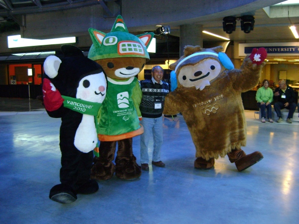 Cute photo!  The Mascots with a UBCM attendee, not sure who this is though...?