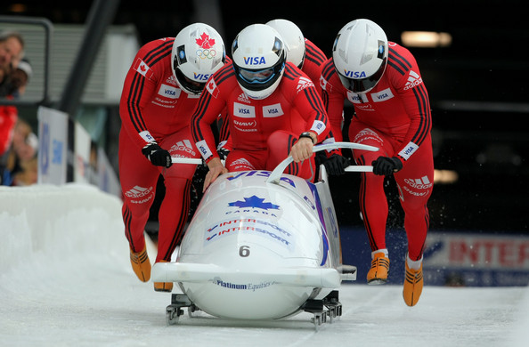 Pierre Lueders and his four-man crew at the FIBT Bobsleigh and Skeleton World Cup at the Whistler Sliding Center on February 7, 2009 in Whistler (Photo by Doug Pensinger/Getty Images).