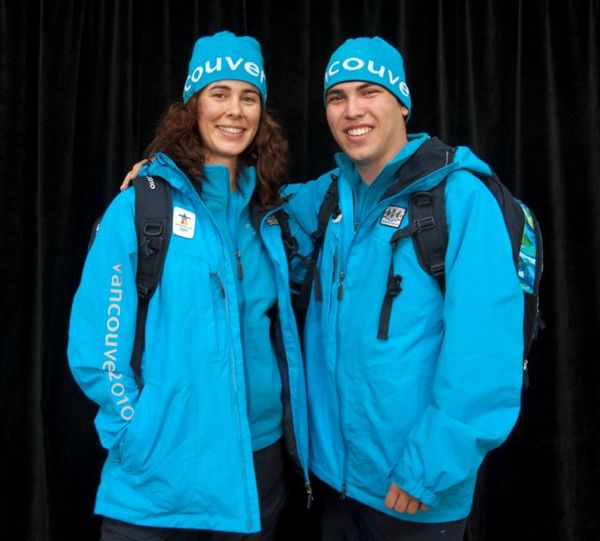 The Vancouver 2010 Workforce Uniform as modelled by two Vancouver 2010 volunteers (photo from @2010tweets)