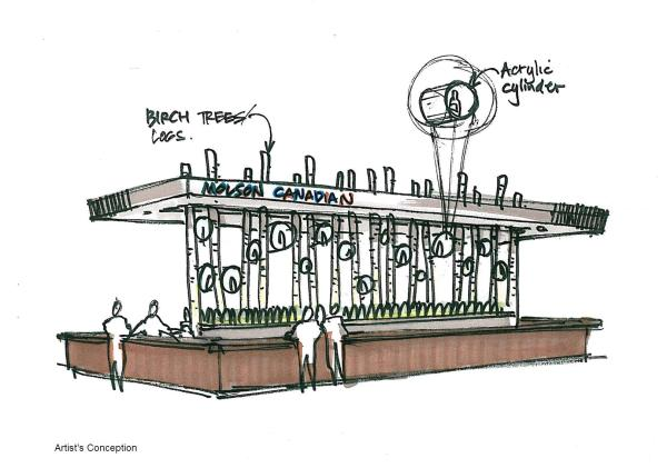 Artist's sketch of the feature bar in Molson Canadian Hockey House