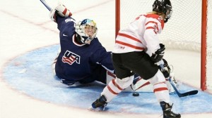 Meghan Agosta going for a goal - photo by Arnold Lim, the Canadian Press