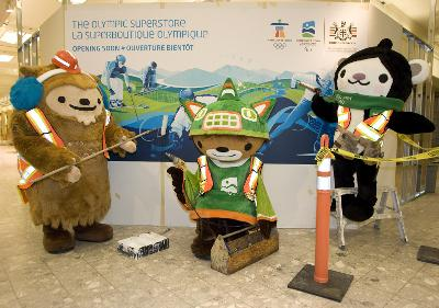 Mascots helping to build the Olympic Superstore - that wall is down now!!
