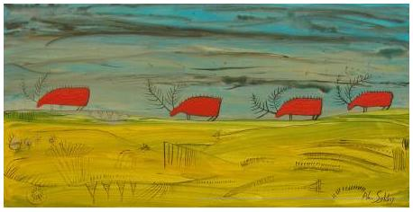 'Four caribou on the march' by Alan Syliboy