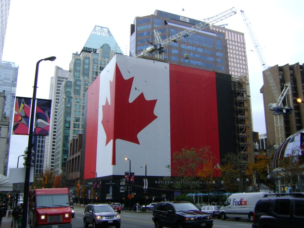 Gigantic Canada Flag on the construction scaffolding on the Hotel Georgia!