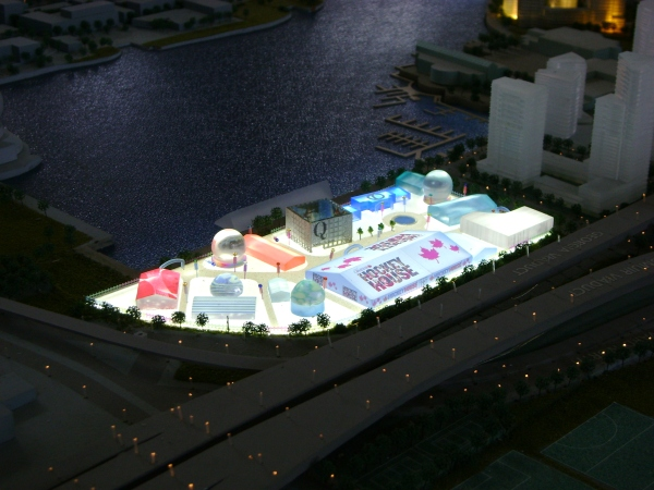 Concord Pacific's 3D model of Concord Place including Molson Canadian Hockey House!