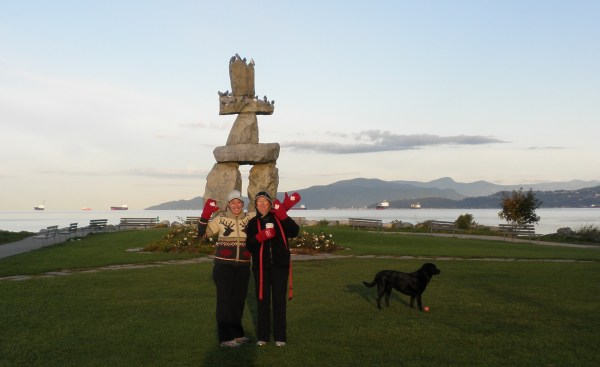 My Mom and I with Red Mittens and the English Bay Inukshuk (and our dog Kelsey!)