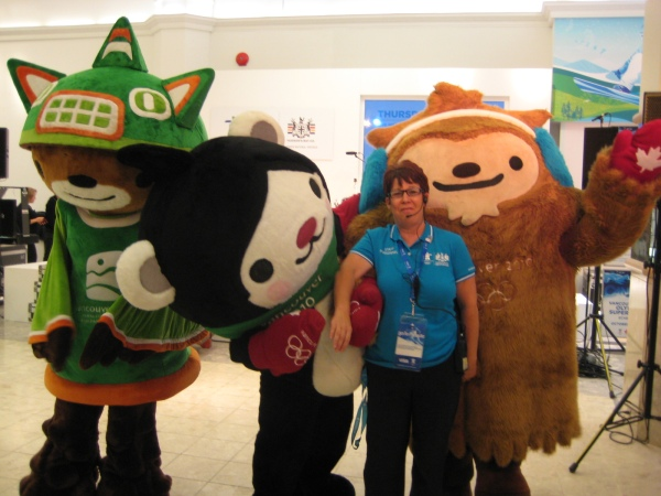 Robyn - an Olympic Torchbearer and a fantastic person to work with - with the Mascots!!