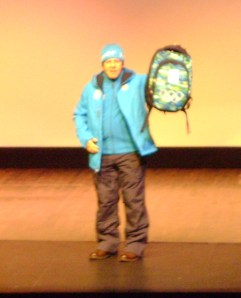 Jacket, vest, toque, mountain pants and backpack.