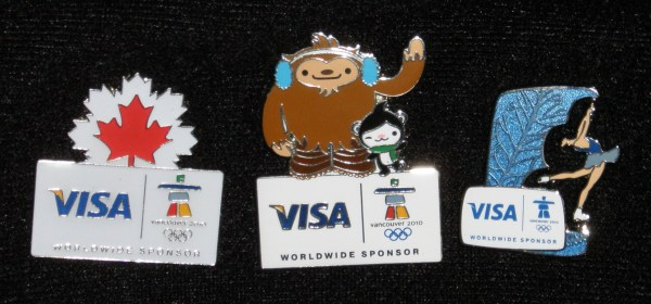 Three really great Visa pins!! The Maple Leaf, Quatchi and Miga, and a Figure Skater - the best of all, she is 3D and twirls!!  Thanks D!